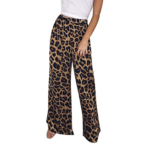 Palazzo Pants for Women Leopard Printed Casual Vintage Baggy Wide Leg Pant Flared Loose Trousers by-NEWONESUN Coffee