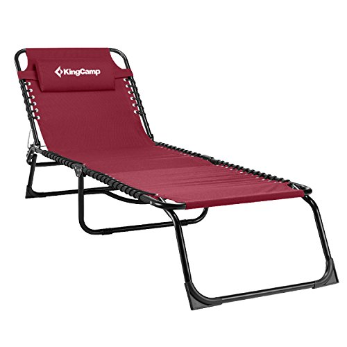 KingCamp Tri Folding Cot Lounge Bed Chair Garden Patio Pool Foldable Camp Cot(Claret-red ). (Foldable Garden Chair)
