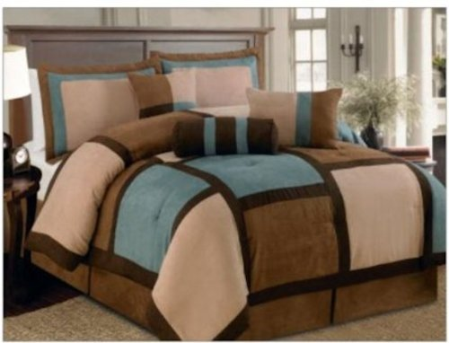 7 Pieces Aqua Brown & Beige Micro Suede Patchwork Comforter Bedding Set Washable KING Size (Cheap Nice Comforter Sets)