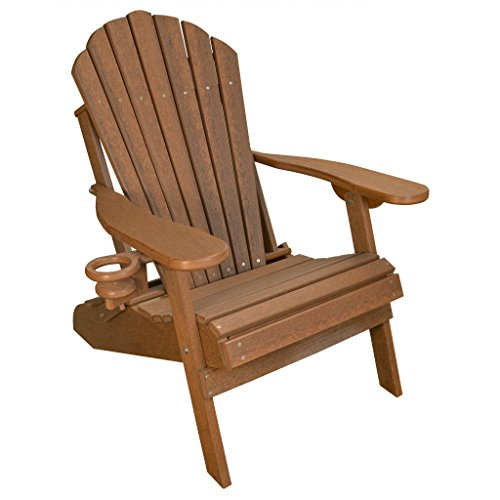 ECCB Outdoor Outer Banks Deluxe Oversized Poly Lumber Folding Adirondack Chair (Antique Mahogany) (Recycled Lumber)