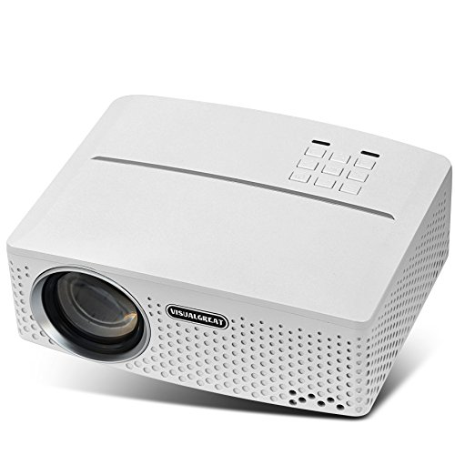 VISUALGREAT GP80 Projector, Portable Size 2018 Top Game Video Entertainment, Led 1800 LMS LED Light Output for Home Theater 1080P Ready via Double USB to Achieve Your Movie at Your Family Party(White) by VISUALGREAT