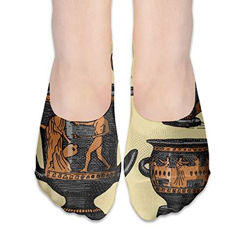 Mens No Show Socks Low Cut Non Slip Ankle Ancient Greece Antique Amphora Set Vase With Cotton -