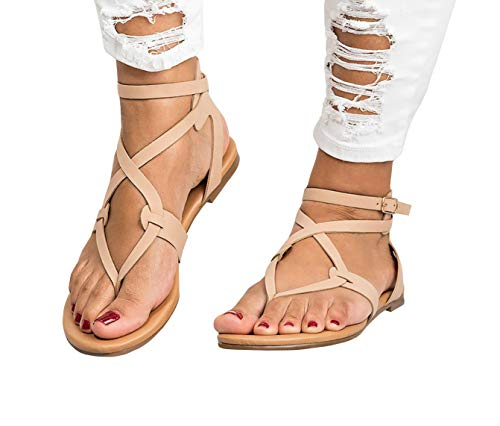 (Womens Strappy Sandals Gladiator Thong Ankle Strap Summer Beach Flat)
