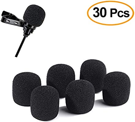 FEPITO 30 Pack Mini Size Microphone Windscreen Microphone Foam Covers for Lavalier Lapel Headset Mic Wireless Microphones