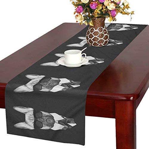 InterestPrint French Bulldog in Suit with Sunglasses Hipster Animal Table Runner Cotton Linen Cloth Placemat Home Decor for Home Kitchen Dining Wedding Party 16 x 72 Inches