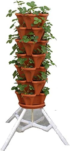 Amazon Com Vertical Gardening Vegetable Tower Indoor Outdoor Tiered Backyard Plant Stand And Pots Tall Standing Pot Plant Holder Sturdy Stacking Pots Stand For Poinsettia Herbs Strawberries Flowers