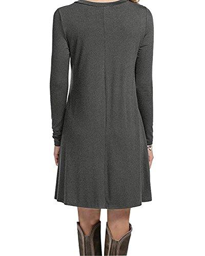 Lunga Manica T Americane shirt Versatile Donne Abiti Casuale Tunica Tendenze Grigi Leggings Altalena Delle Adattano Comodi F5EvT5