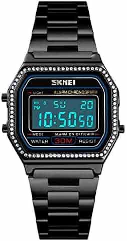 739b82de0c6 Luxury Women Watches Full Steel Electronic LED Digital Fashion Ultra Thin Square  Ladies Wrist Watches (