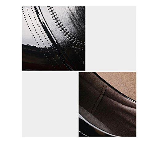 Colore Tela Punta Sandali Scarpe Nastro Affari Pelle in Sportivi A Uomo Morbido Casual Stagione Black Tondo Stivali Tq74PTw