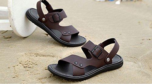 Sandali Pelle Spiaggia in in Spazzolata Pelle da Brown Impermeabili da Scarpe Uomo rq1crH