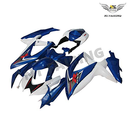 (NT FAIRING White Blue Injection Mold Fairing kits Fit for Suzuki 2008 2009 2010 GSXR 600 750 K8 08 09 10 GSX-R600 Aftermarket Painted ABS Plastic Motorcycle Bodywork)