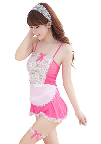 Pengstyle Women Fancy Pink Maid Cosplay Costume Outfit with Apron Accessories ()