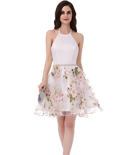 SHDRESS Halter Beaded Floral Organza Print Short Prom Homecoming Dresses (X-Small, Pink)