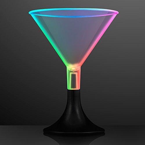 Slow Color Change LED Light Up Short Martini Glasses (Set of 6) ()