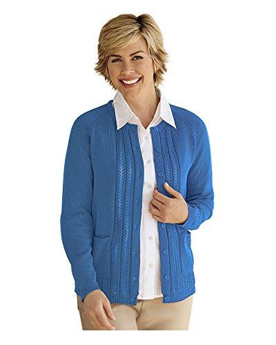 (National Classic Cardigan Sweater, Denim Blue, Medium)