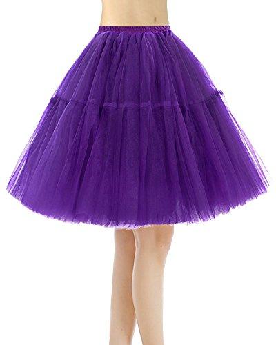 Bridesmay Jupe Ballet Tutu en Tulle 5 Couches Vintage annes 50 Couleurs varies Purple