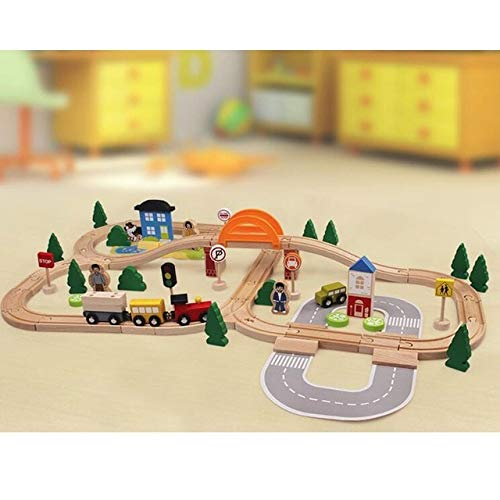 DishyKooker 78pcs Hand Crafted Wooden Train Set Triple Loop Railway Track Kids Toy Play Set Show