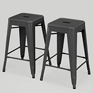 Amazon Com Modern Square Tabouret 24 Inch Charcoal Grey