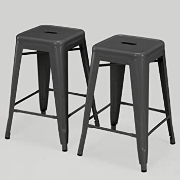 Cool Modern Square Tabouret 24 Inch Charcoal Grey Metal Counter Stools Set Of 2 Industrial Style Gmtry Best Dining Table And Chair Ideas Images Gmtryco