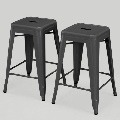 Modern Square Tabouret 24-inch Charcoal Grey Metal Counter Stools (Set of 2) Industrial Style Review