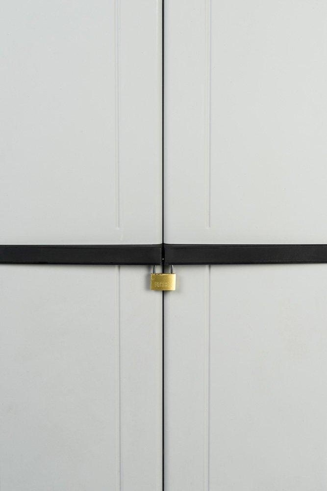 67 x 38 x 164 cm. Kreher Kunststoffschrank In Grau Werkstattschrank mit DREI h/öhenverstellbaren B/öden und abschlie/ßbaren T/üren Ma/ße ca