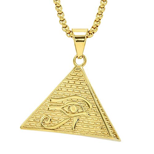 Egyptian Eye Horus - Lax Jewelry Mens Stainless Steel Egyptian Eye of Horus in Pyramid Pendant Necklace, 24 inch Cuban Chain (Egyptian Eye of Horus in Pyramid)