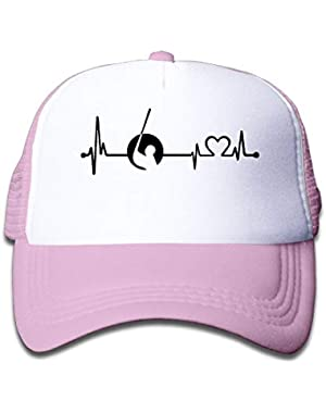 Funny Golf Heartbeat-1 On Kids Trucker Hat, Youth Toddler Mesh Hats Baseball Cap