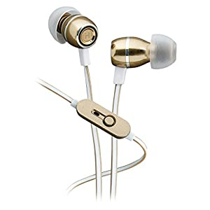 iHome iB18YW Noise Isolating Metal Earphones with In-line Mic, Remote and Pouch Champagne