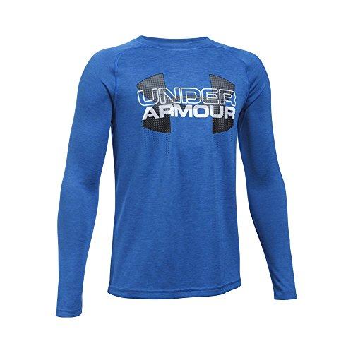 Under Armour Boys' UA Tech Big Logo Hybrid Long Sleeve T-Shirt Youth Medium ULTRA BLUE
