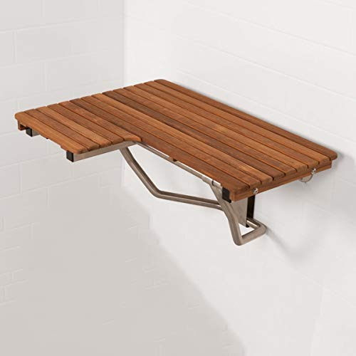 Plantation Teak ADA Wall Mounted Right Handed Shower Bench/Seat (32