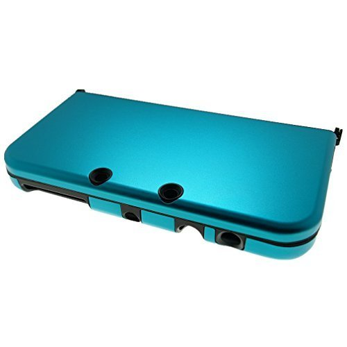 Br   For New Nintendo 3Ds Xl Case Cover Hybrid Aluminum Metal Overlay Hard Plastic Protector   Free Screen Protectors  Blue