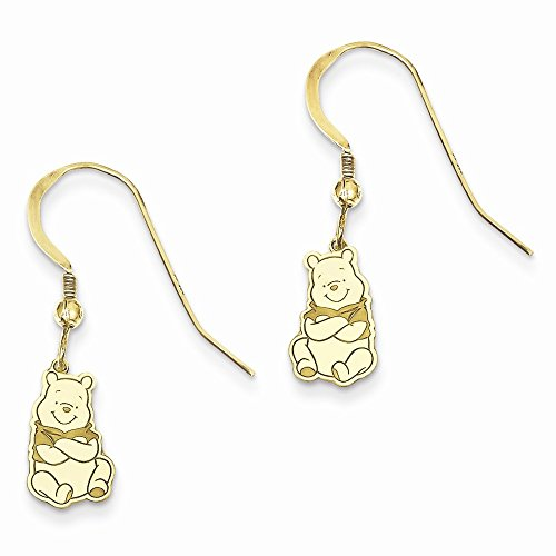 Gold-Toned Sterling Silver Disney Winnie the Pooh Dangle Wire Earrings (8mm x 29mm)