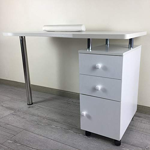 Simoner Beauty Manicure Nail Table Station, Movable Nail Salon Desk Equipment with Wrist Rest Pad & 3 Drawers, White