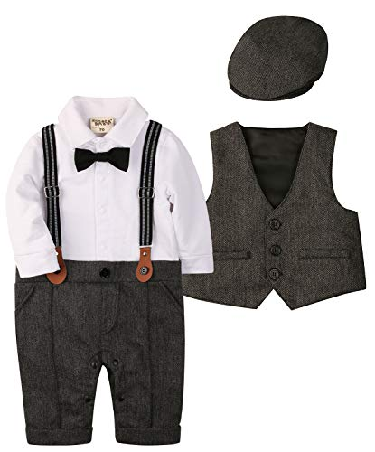 Suits Dress Baby (ZOEREA Baby Boy Suit Outfits Set,3pcs Long Sleeves Gentleman Romper Jumpsuit & Vest Coat & Berets Hat with Bow Tie(Label 80/Age 8-14 Months, Grey))