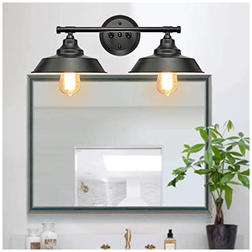 Farmhouse Wall Sconces 2-Lights Vanity Wall Sconce Lighting, Rustic Style Bathroom Light Fixtures Over Mirror, Matte Black Industrial Bathroom… farmhouse wall sconces