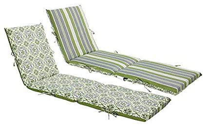 Bossima Indoor Outdoor Green Grey Damask Striped Chaise Lounge Cushion Spring Summer Seasonal Replacement Cushions Reversible