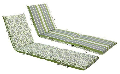 Outdoor Patio Steamer Cushion - Bossima Indoor/Outdoor Green/Grey Damask/Striped Chaise Lounge Cushion,Spring/Summer Seasonal Replacement Cushions Reversible