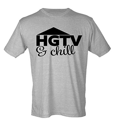 Hgtv And Chill Womens V Neck T Shirt Diy Fixer Upper Joanna Gaines  Medium  Grey With Black Design