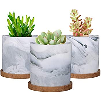SQOWL 4 inch Marble Ceramic Succulent Planter Pot Indoor Modern Cactus Herb Flower Planters with Bamboo Tray Set of 3