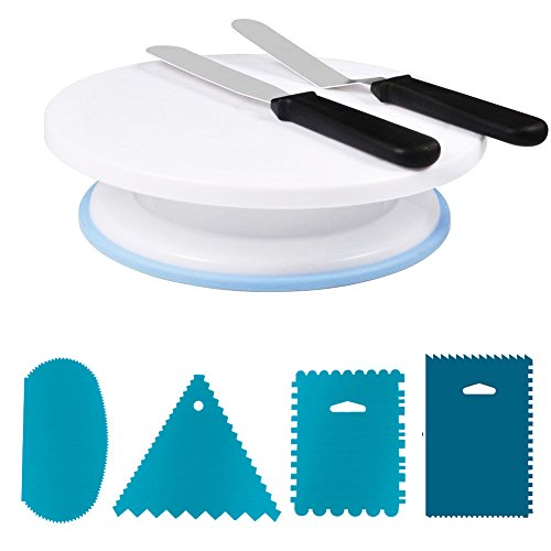 Cake Stand AIFUSI 11 Inch Rotating Cake Turntable with 2 Icing Spatula and 4 Icing Smoother for Banking Cake Decorating Supplies