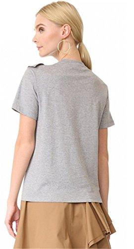 Moda Con Volantes Manga Corta T-Shirt Camiseta Playera Tee Top Gris Gris