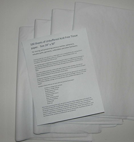 Unbuffered Acid-Free Paper for Storing and Preserving Precious Quilts, Textiles, Linens. 100 Sheets 20 by 30 inches. (4 Pack) by Touch of Europe