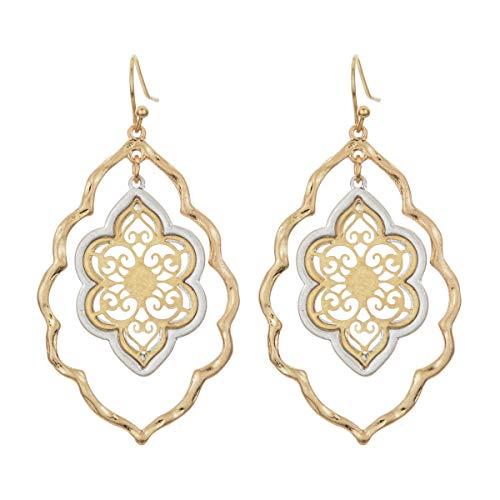 Gold Filigree Flower Earrings for Women Dangling Jewelry (gold filigree earrings) (Gold Earrings Dangling)
