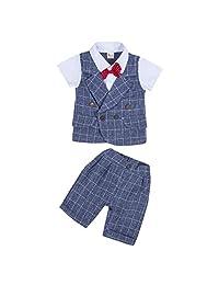 BAOSHI1 Toddler Baby Boy Plaid Dress Tops+ Pants Formal Bow 2Pcs Tuxedo Clothes Sets