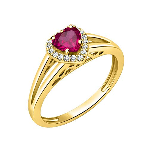 Craft On Jewelry 14k Yellow Gold Plated Simulated Ruby Halo Heart Wedding Engagement Promise Rings for Women Girl - Finger Size 4-14