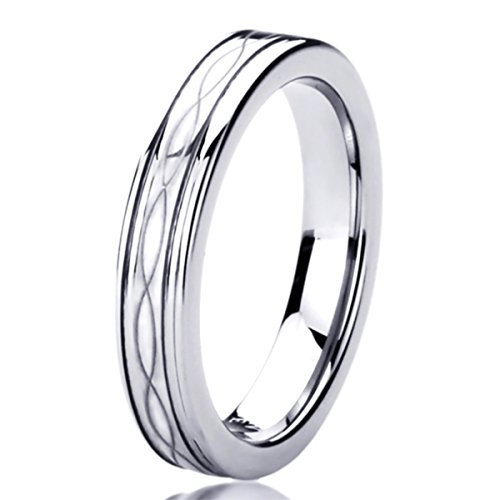Free Engraving Personalized Titanium Comfort Fit Wedding Band Ring 4mm Infinity Patterned Ring-SIZE 5.5