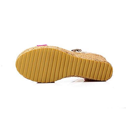 Amoonyfashion Femmes Bout Ouvert Talon Haut Wedge Plate-forme Matériau Souple Pu Solide Sandales Pêche