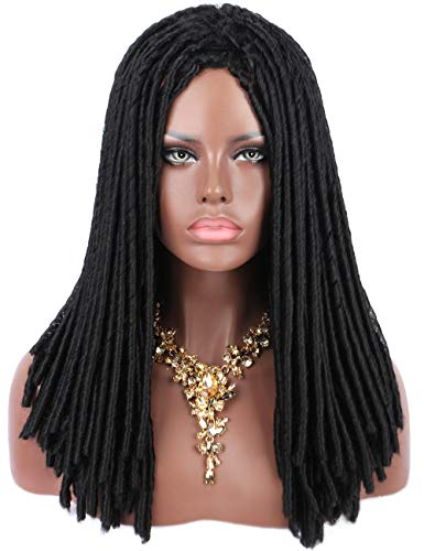 Kalyss Full Dreadlocks African American Hair Wig Long Curly Rolls Twist Braids Premium Synthetic Wigs For Black Women (Natural Black #1) -
