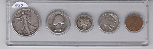 1937 Birth Year Coin Set- (5) Coins- Half Dollar, Quarter, Dime, Nickel, Cent All dated 1937 and Encased in a Plastic Holder- Average Circulated - Very Good