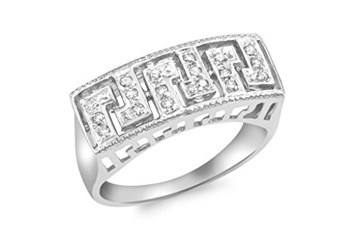 Clé Grecque en diamant or blanc 9carats
